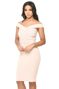 Nude Midi Dress With Bandage Top