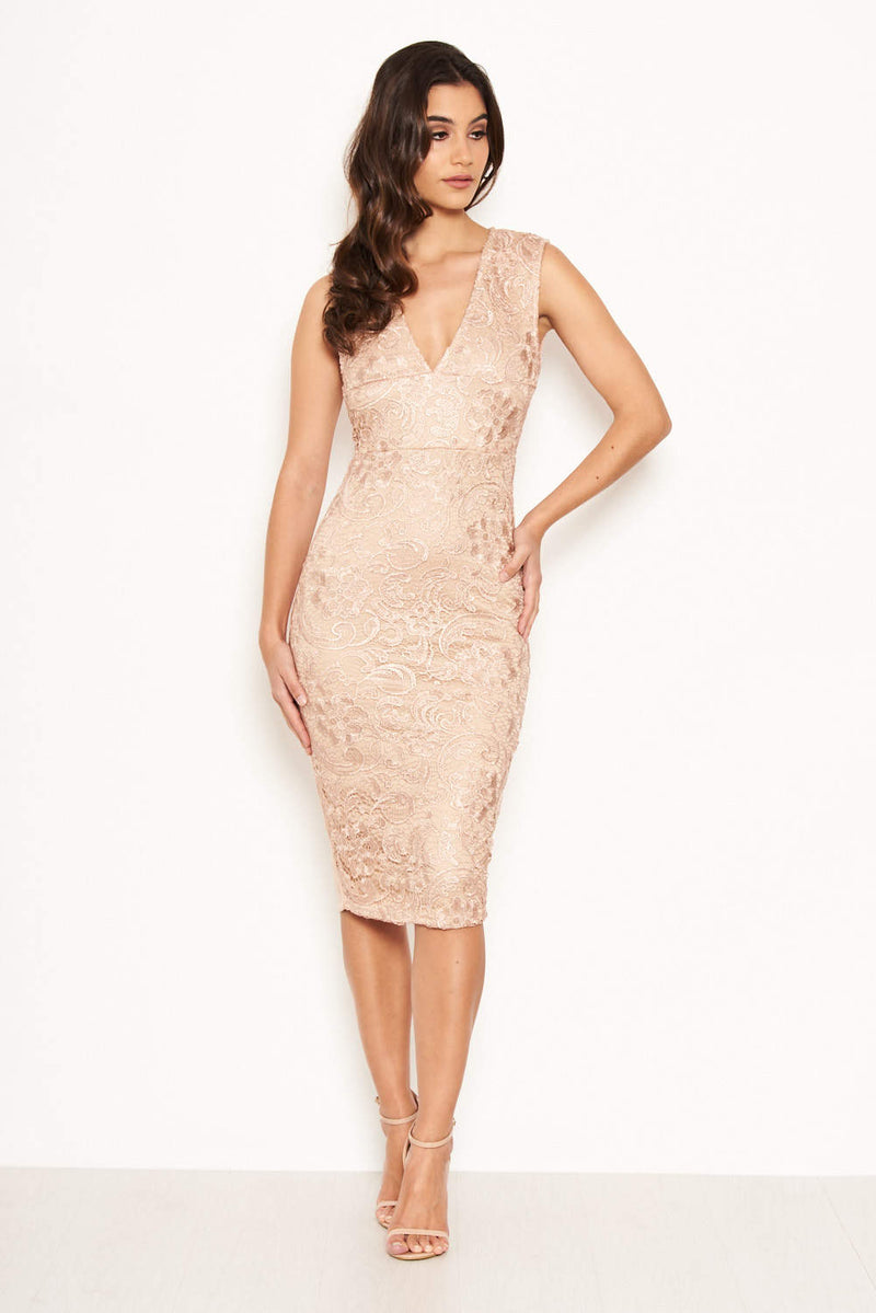 Nude Midi Dress With Lace Contrast Front