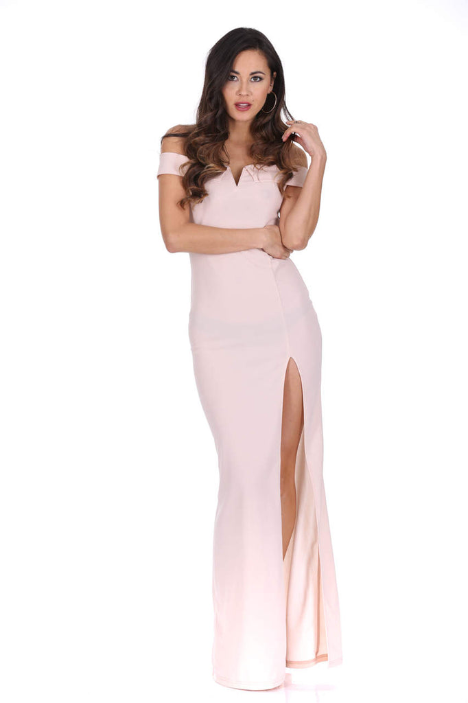 Nude Off The Shoulder Maxi Dress