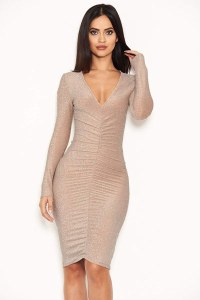4498af88540f Nude Ruched Front Bodycon Dress – AX Paris