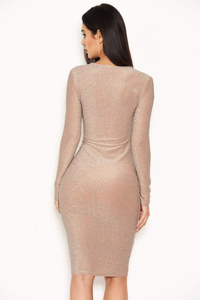 Nude Ruched Front Bodycon Dress