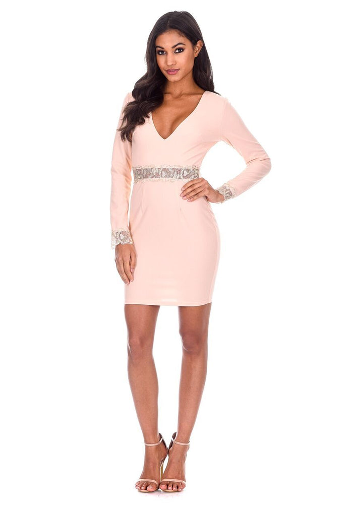 Nude Sleeved Midi Dress
