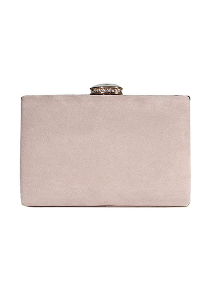 Nude Suede Box Clutch With A Jewel Clasp