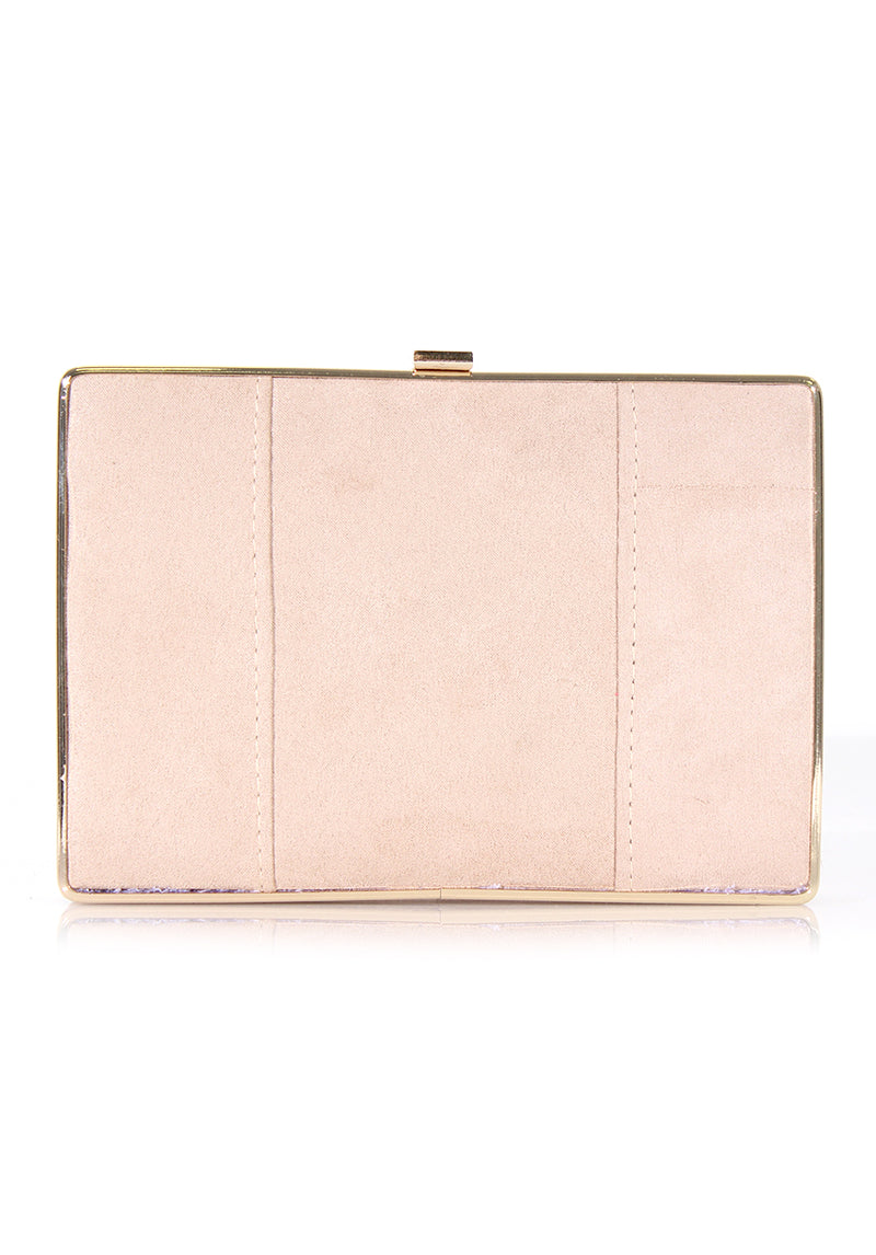 Nude Suede Box Clutch with Gold Detail