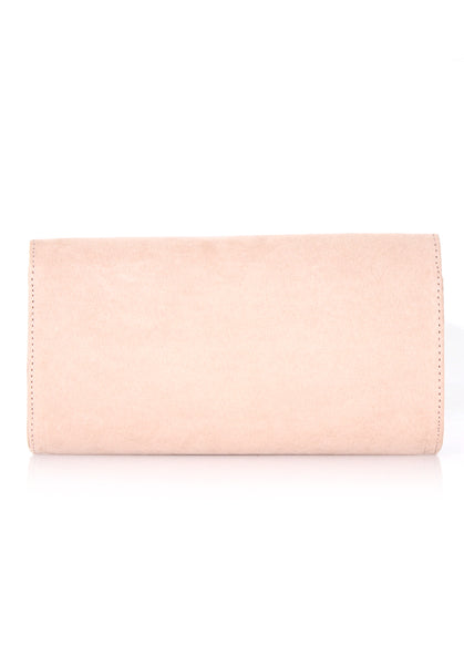 Nude Suede Clutch with Gold Detail