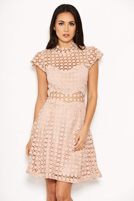 Mushroom Lace Cold Shoulder Midi Dress