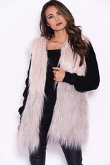 Nude and Grey Ombre Faux Fur Gilet