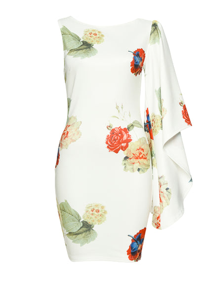Cream One Sleeve Floral  Dress