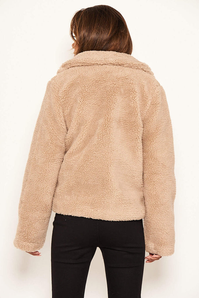 Oatmeal Teddy Faux Fur Short Coat