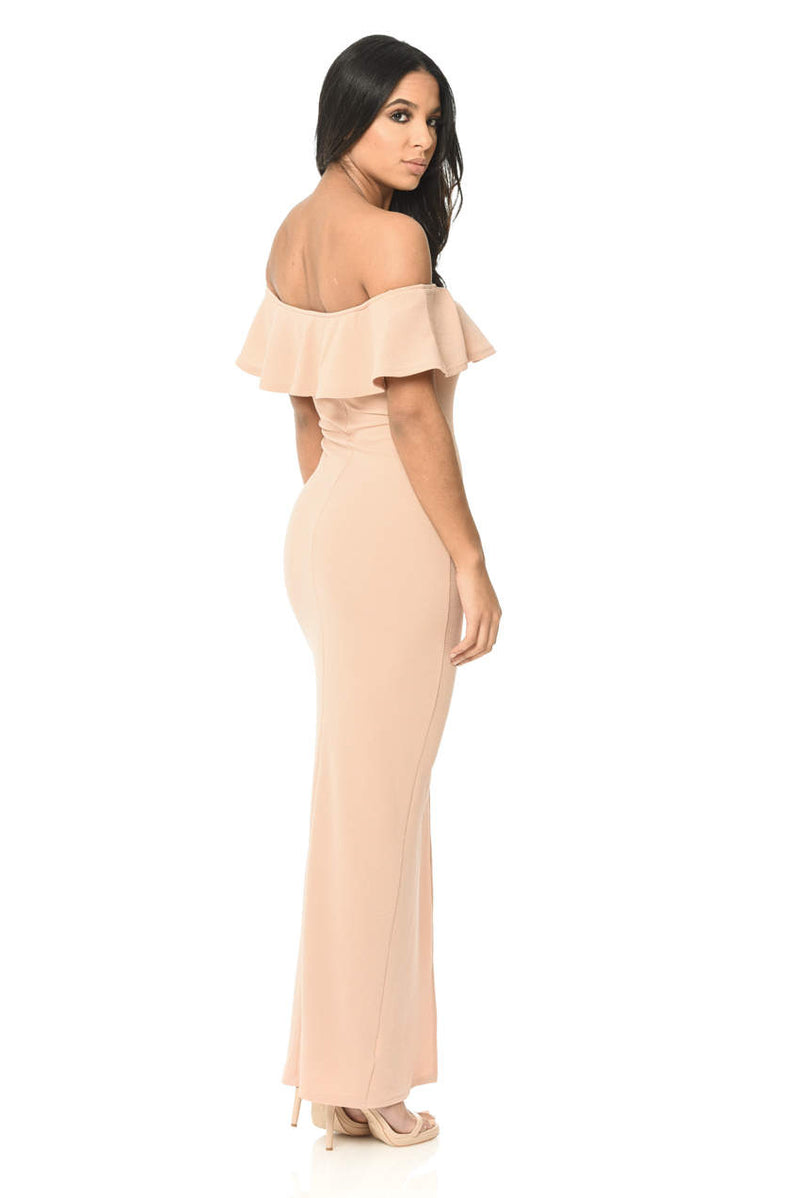 Off The Shoulder Blush Maxi Dress With Frilled Front And Thigh High Split