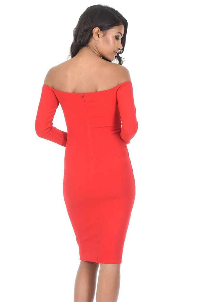Red Off The Shoulder Midi Dress