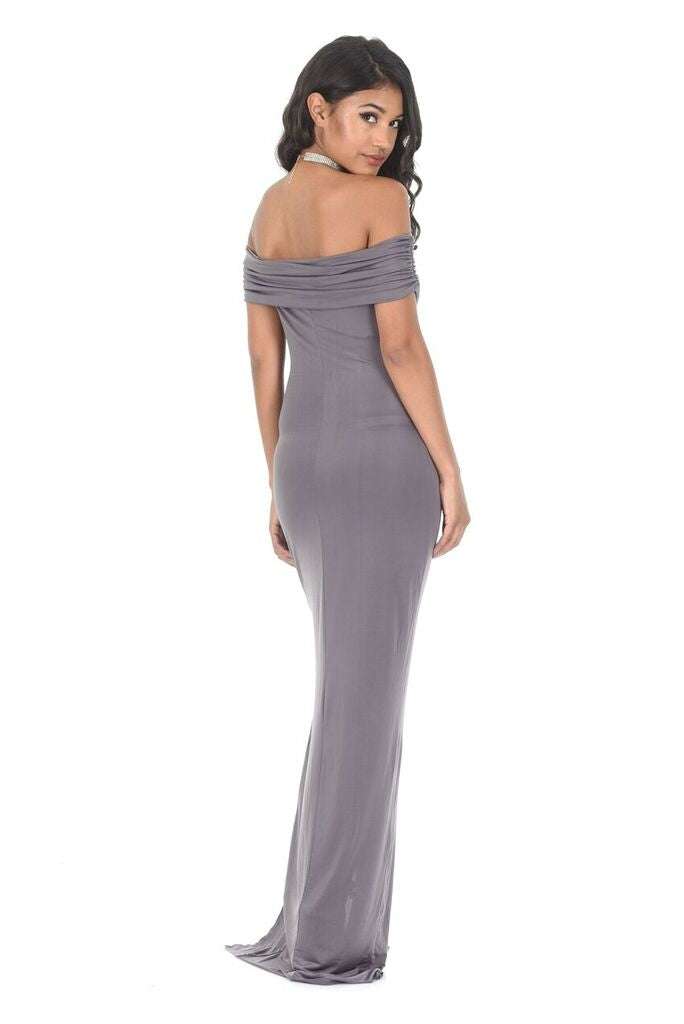 Pewter Off The Shoulder Slinky Maxi Dress