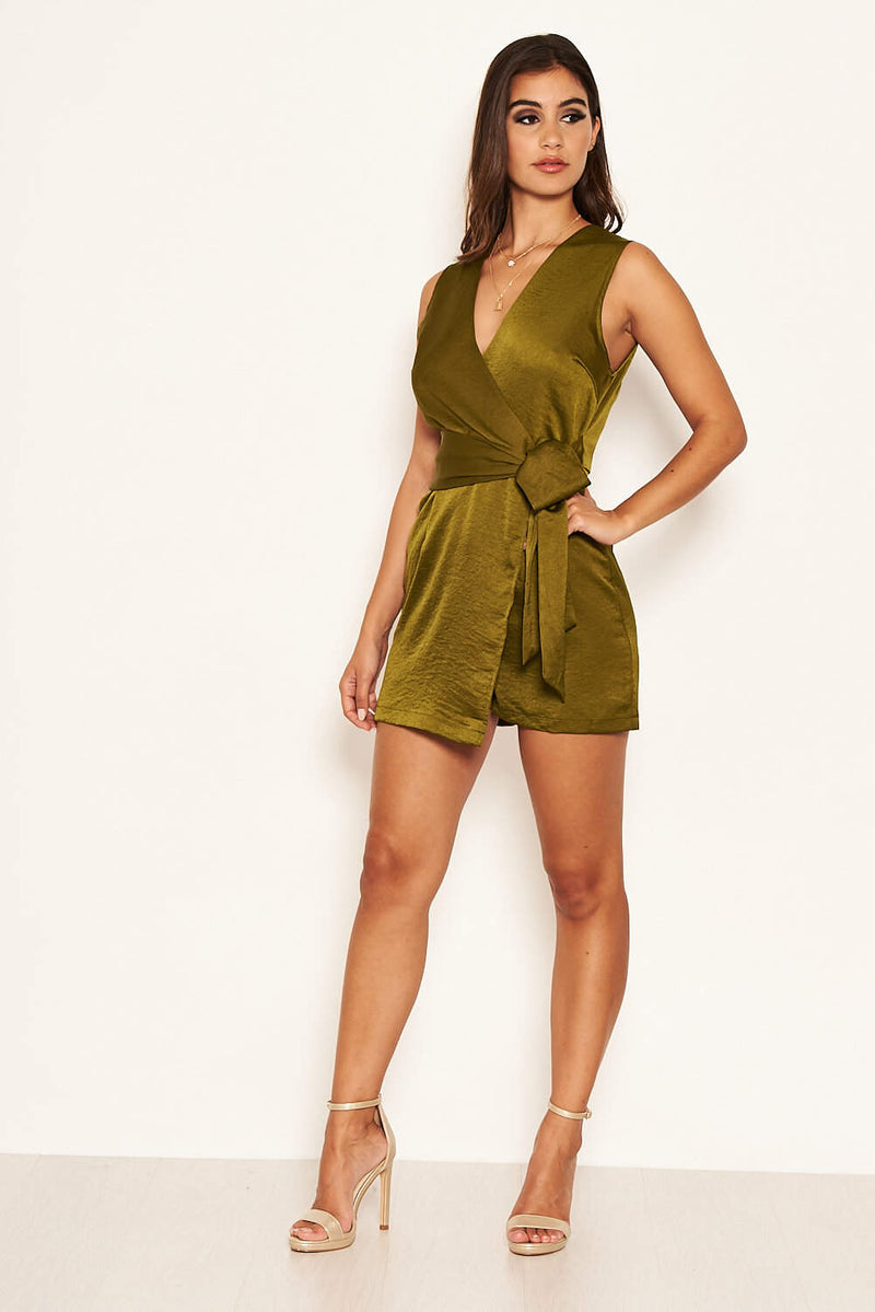 Olive Wrap Tie Playsuit