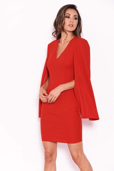 Red Split Sleeve Mini Dress