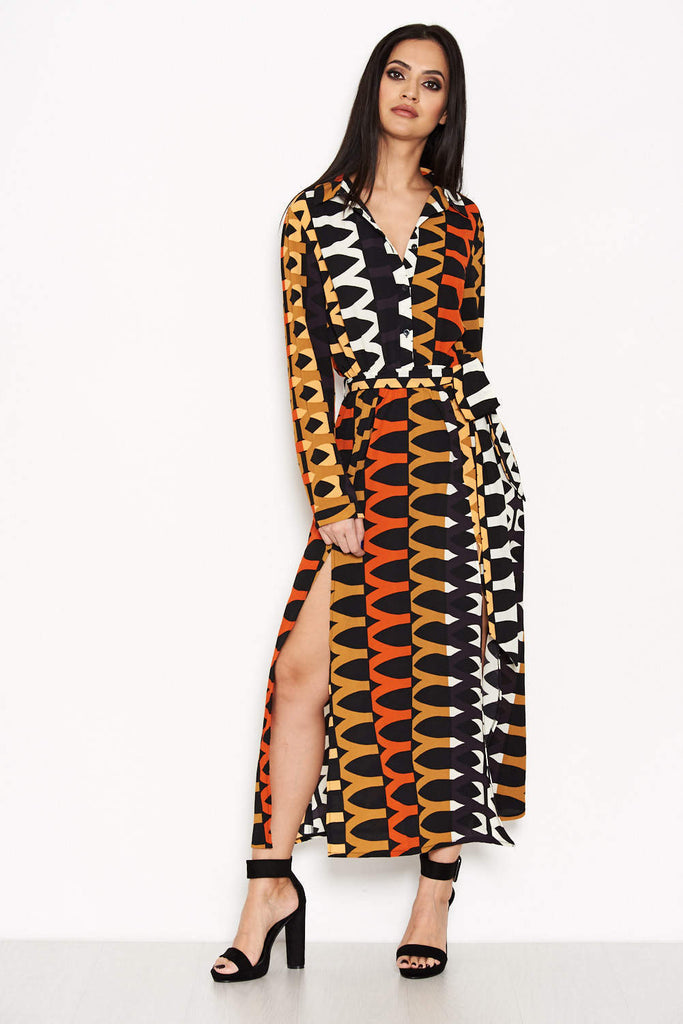 Orange Aztec Printed Shirt Dress