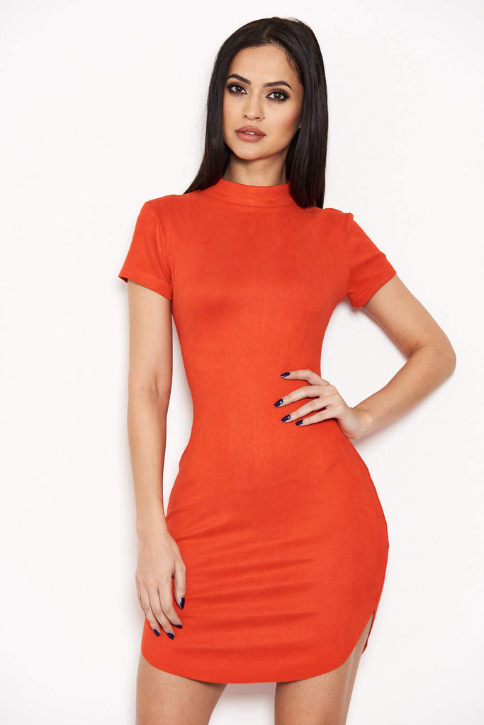 Orange Faux Suede Mini Dress with High Neck
