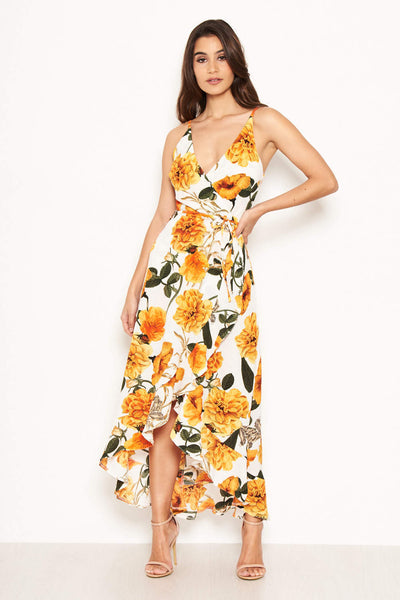 Orange Floral Strappy Midi Dress