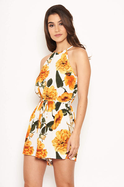 Orange Floral Tie Waist Playsuit