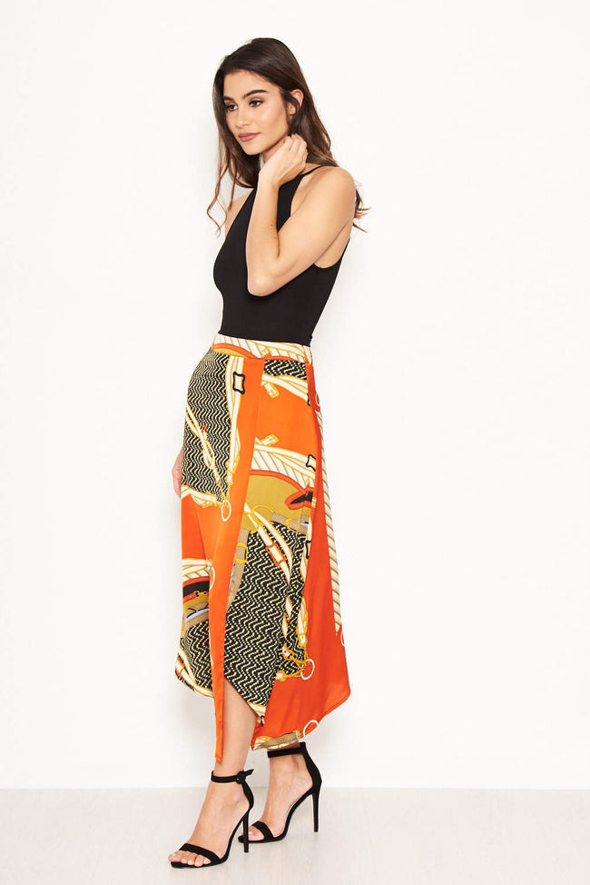 Orange Chain Printed Midi Skirt