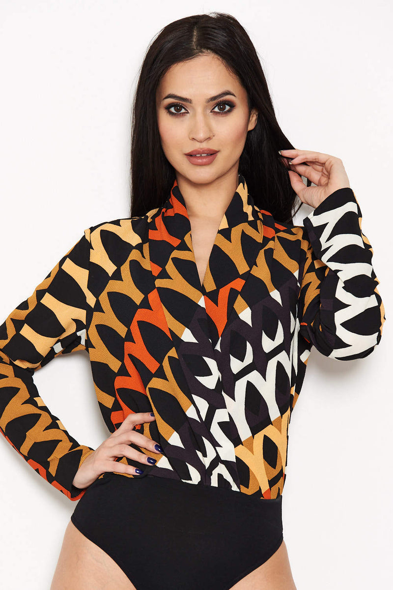 Orange Printed Wrap Bodysuit