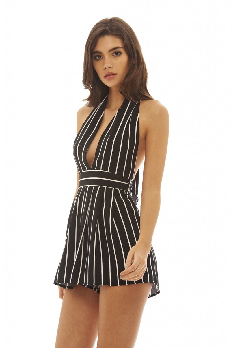 Striped Halterneck  Playsuit