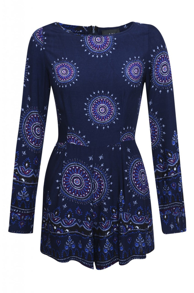 Long Sleeve Printed Playsuit