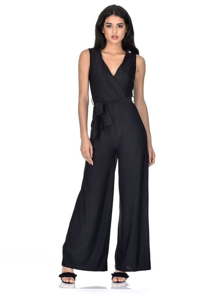 Black Wrap Front Slinky Jumpsuit