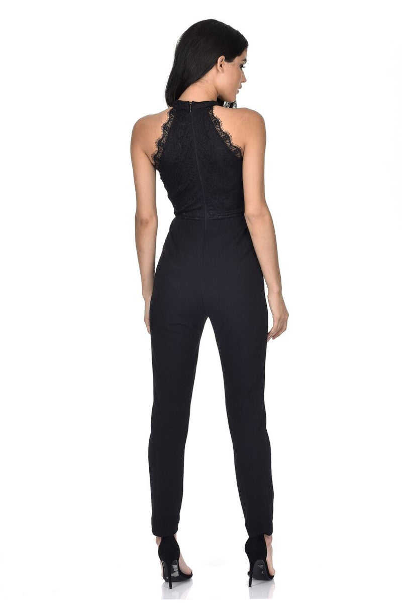 Black Cut In Neck Lace Jumpsuit