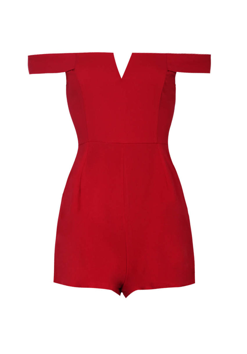 Red Notch Front Playsuit