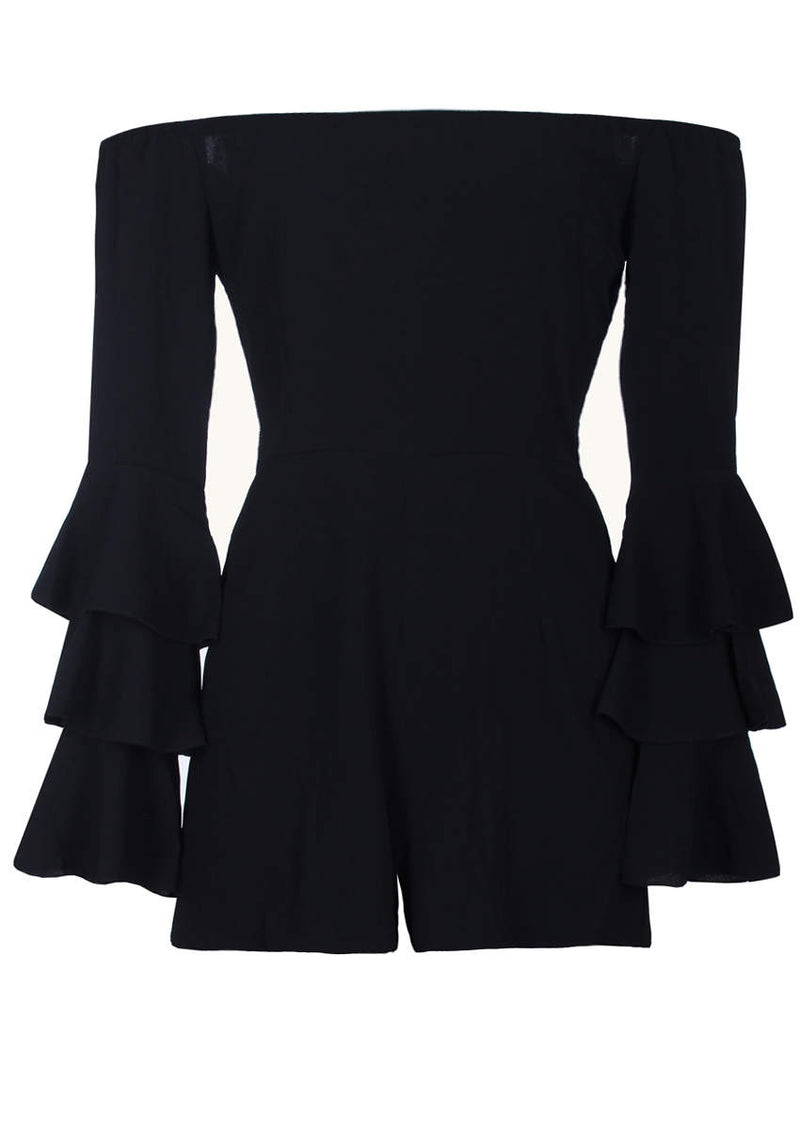 Black Ruffle Sleeve Playsuit