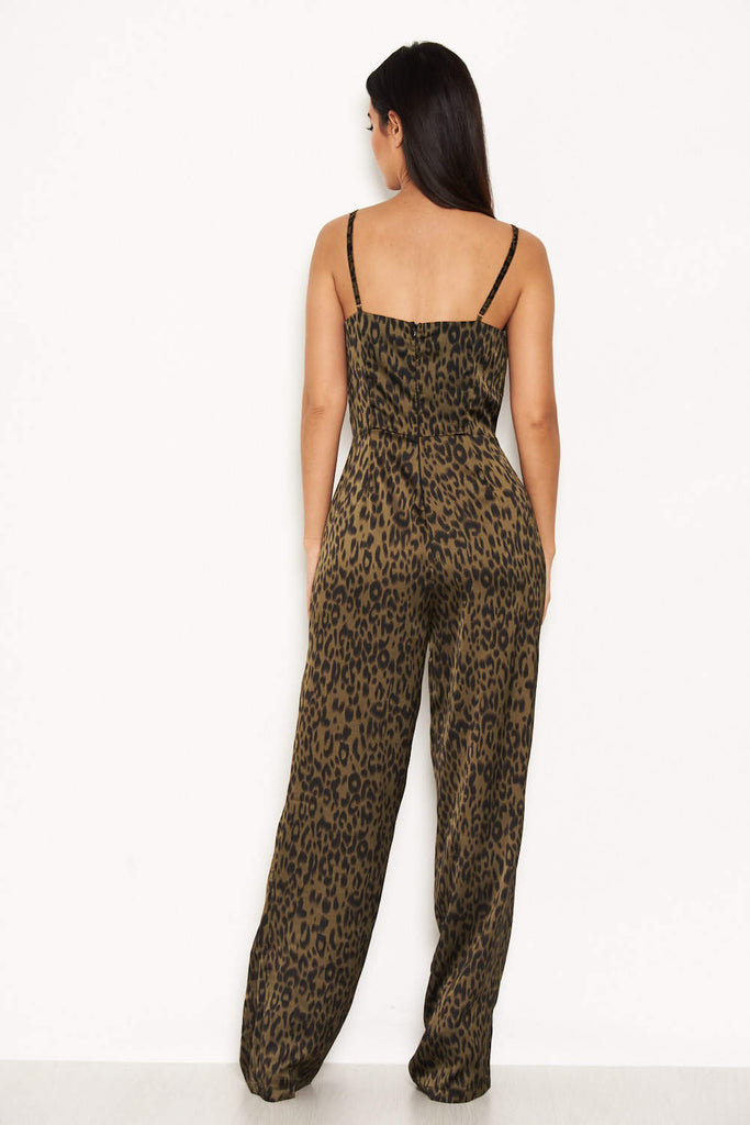 Khaki Animal Print V Neck Jumpsuit