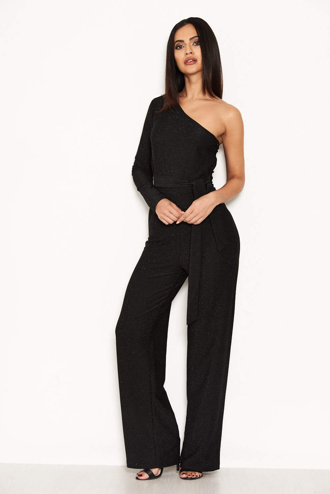 Black Glitter One Arm Jumpsuit