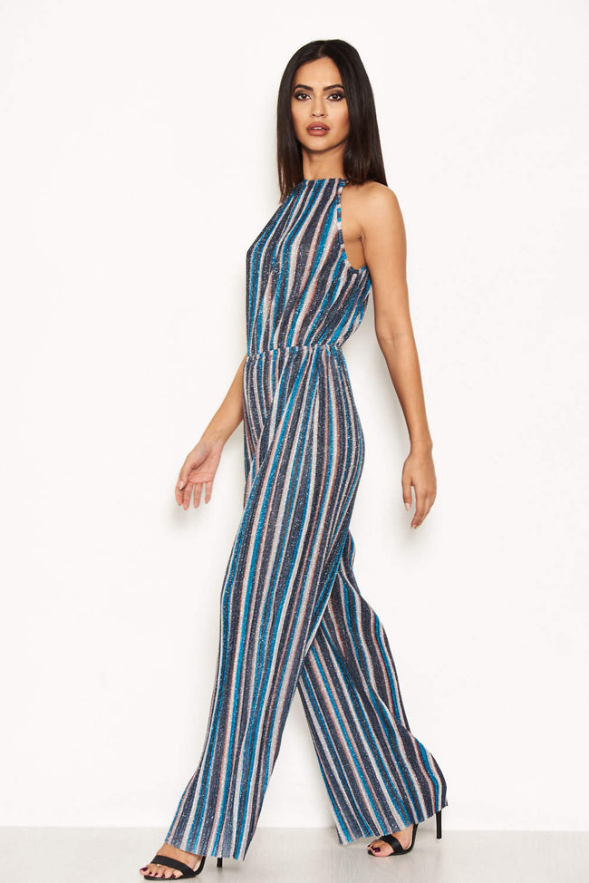 Multi Pleated Stripe Jumpsuit