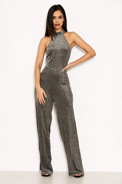 Silver Glitter High Neck Jumpsuit