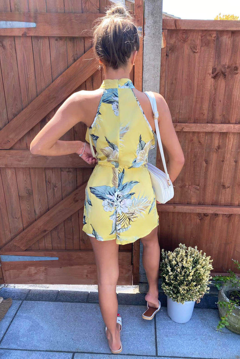 Yellow Frill Floral Printed Playsuit