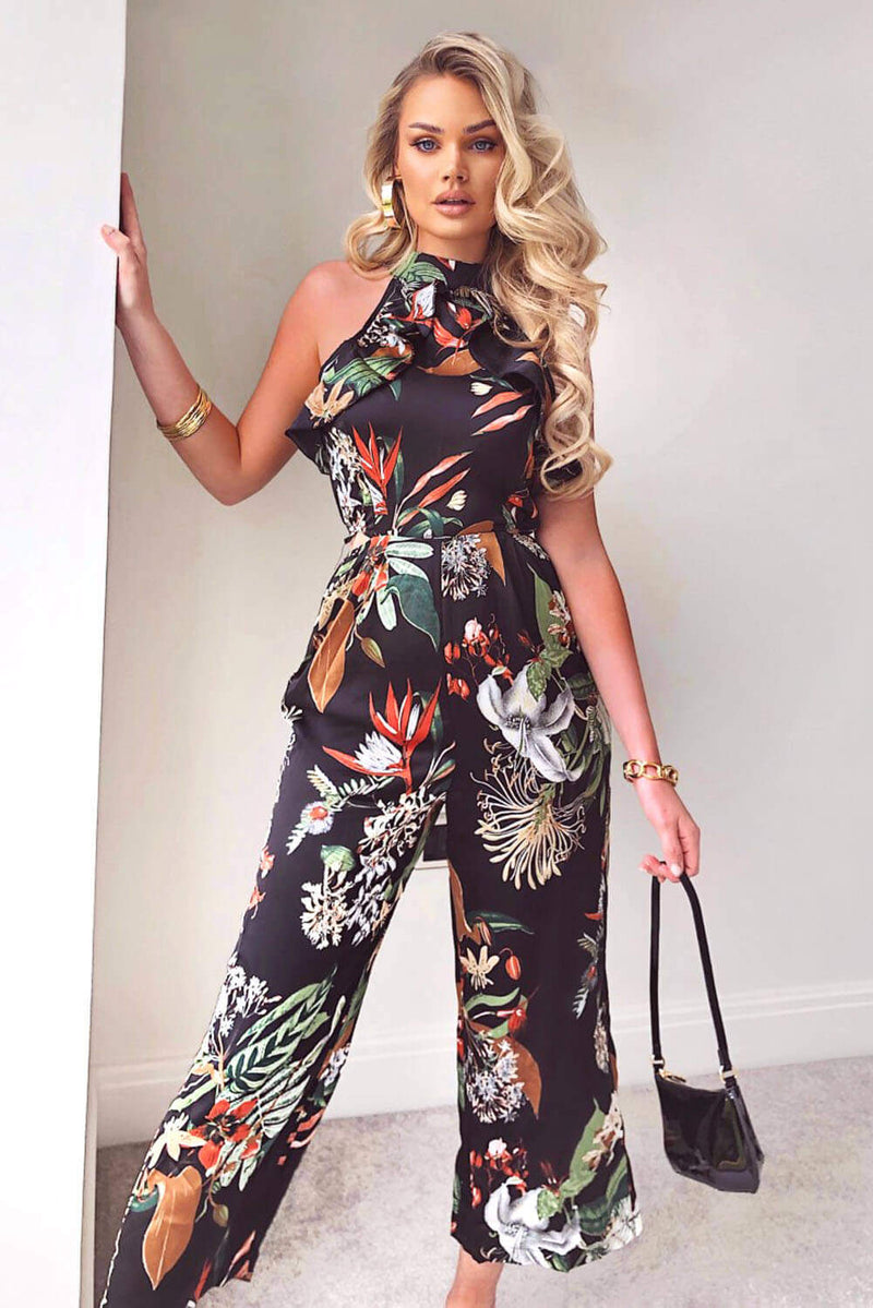 Black High Neck Frill Cut Out Jumpsuit