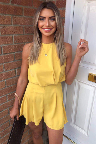 Yellow High Neck Playsuit