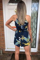 Cut Out Floral Printed Playsuit