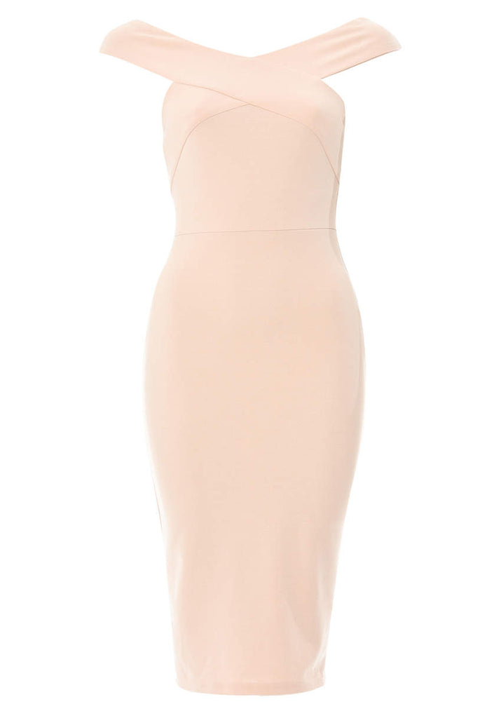 Pink Midi Dress with Cross-Front Detail