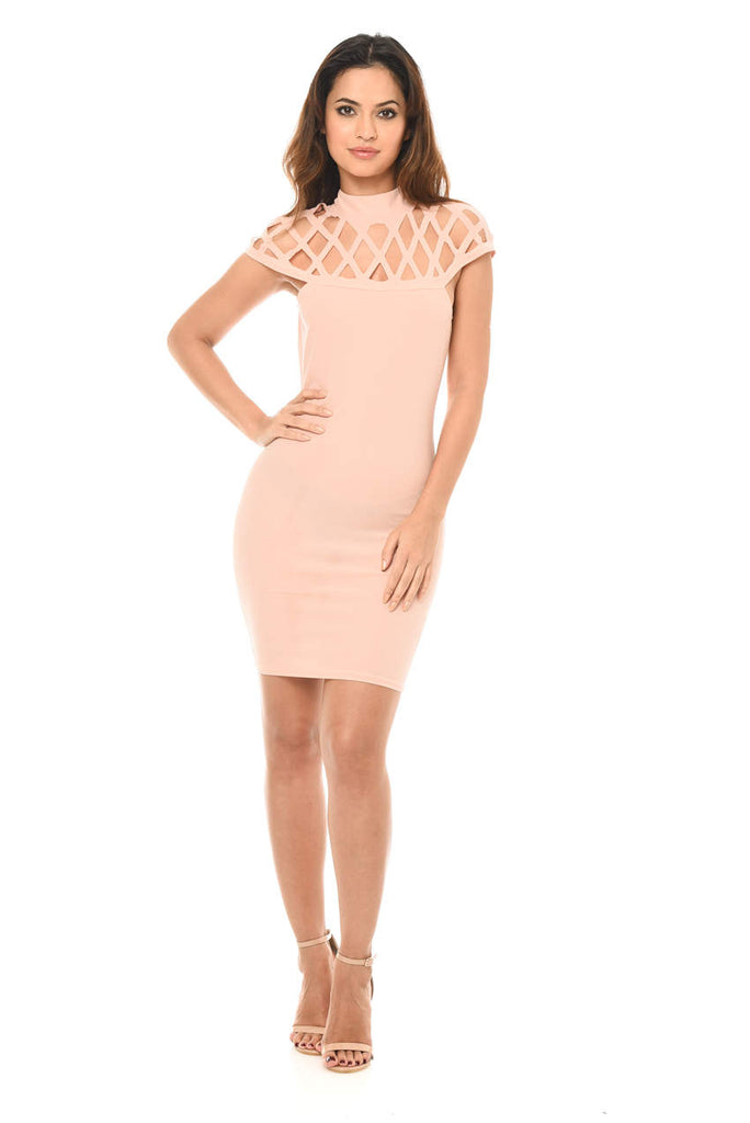 Pink Mini Bodycon Dress with Cage Detail