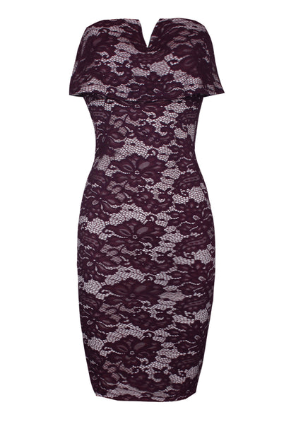 Plum Bandeau Lace Dress