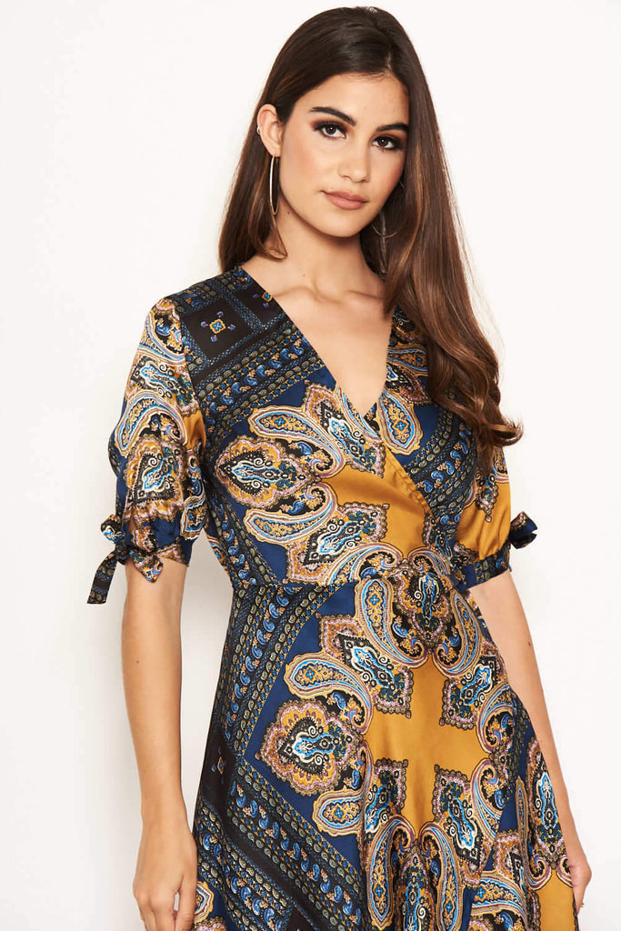 Paisley Tie Waist Wrap Maxi Dress