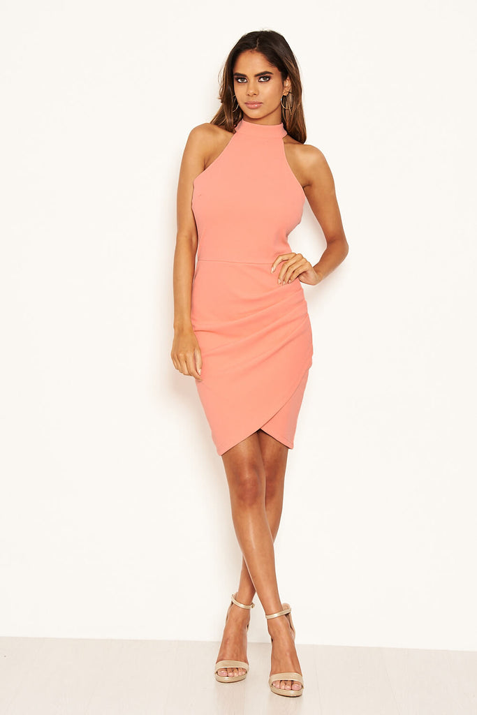 Peach Bodycon High Neck Ruched Dress