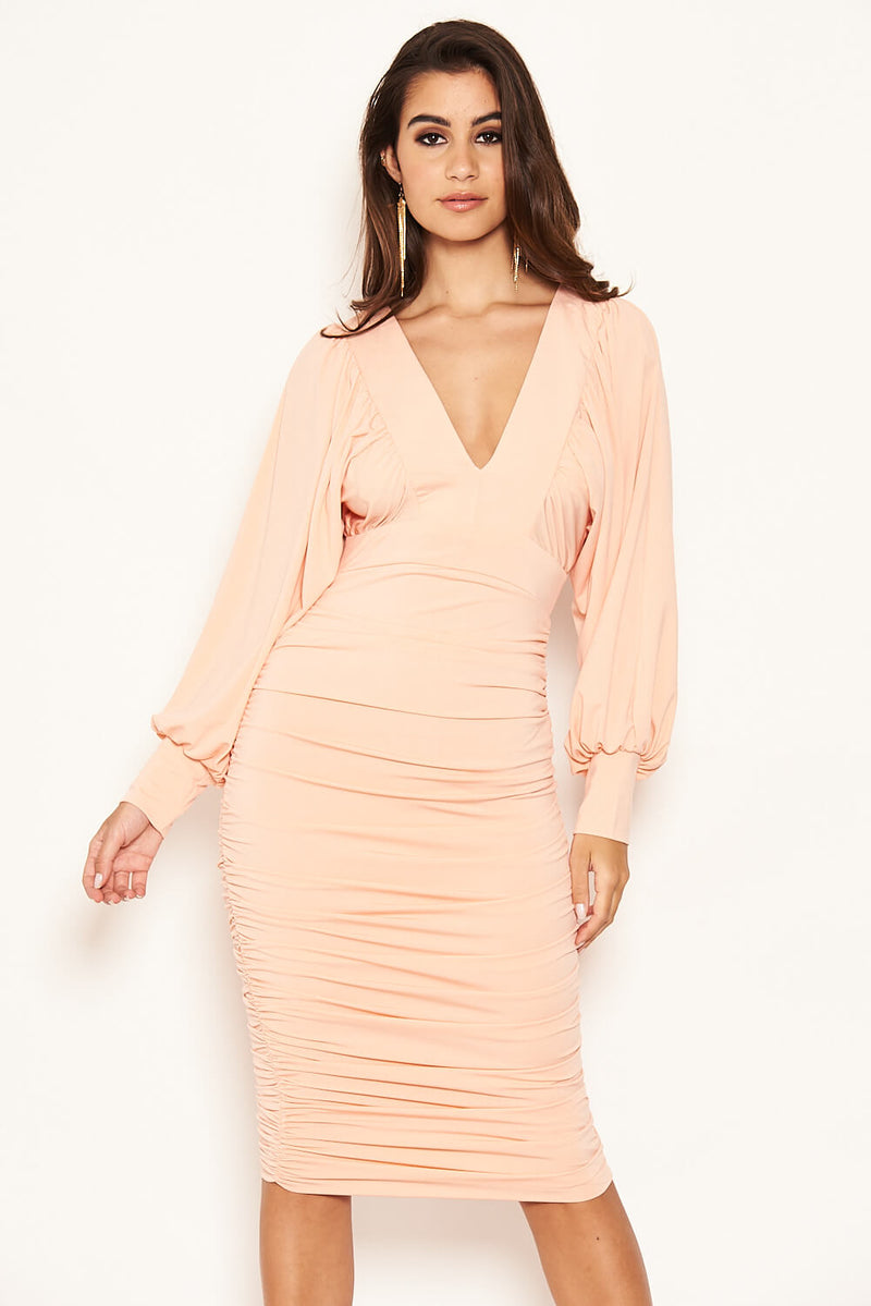 Peach Flared Sleeve V Neck Ruched Midi Dress