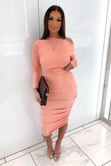 Peach Off Shoulder Ruched Dress