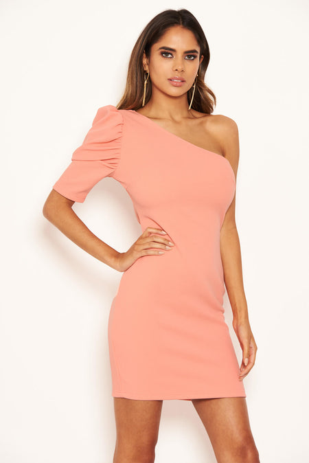 Blush Faux Suede Mini Dress with High Neck