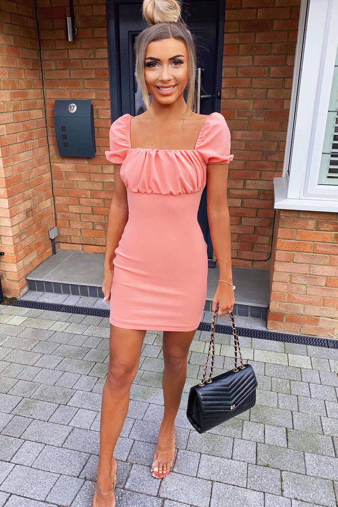 Peach Square Neck Ruched Bodycon Mini Dress