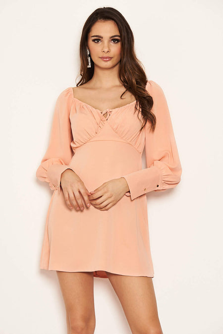 Stone High Neck Cold Shoulder Faux Suede Mini Dress
