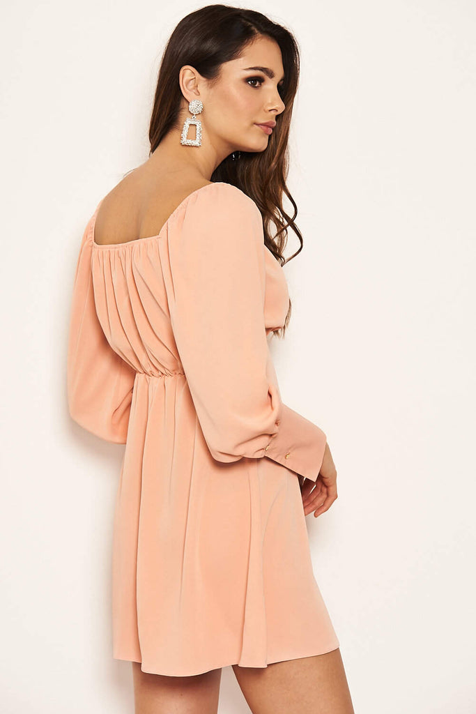 Peach Tie Neckline Long Sleeve Dress