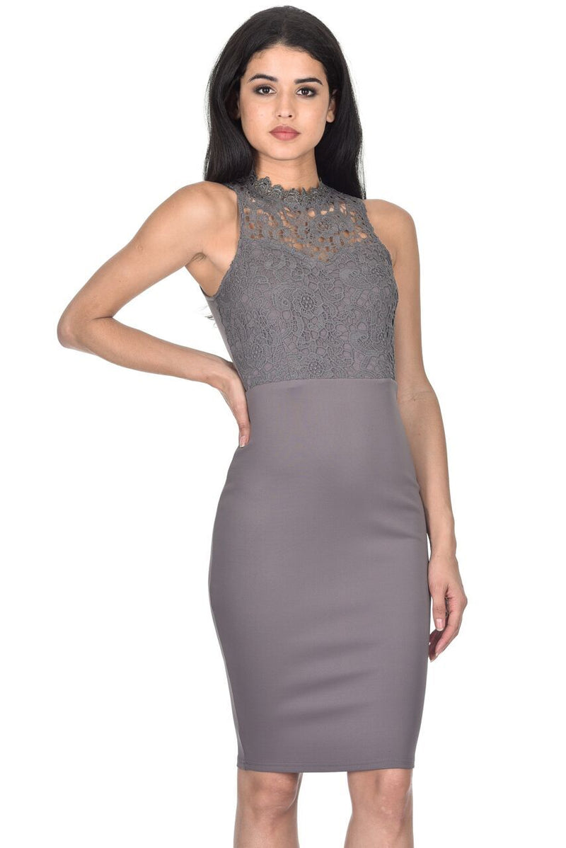 Pewter High Neck Crochet Bodycon Dress
